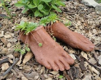 Concrete Planter (Terracotta) Goddess Planter Feet - Garden Sculpture