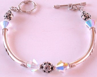 Petite Sterling Silver and Crystal Bracelet