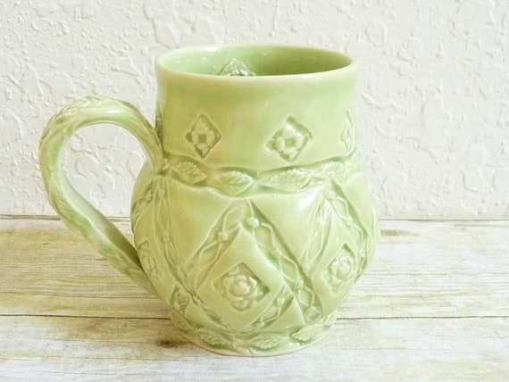 Coffee Mug Oversized Cup Green Roses Vines French Country Flower Stamped One-of-a-Kind For Her Large Elegant Cup, Shabby Chic Pottery