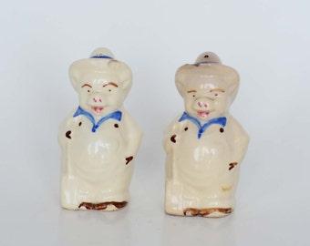 Vintage Farmer Pig Salt and Pepper Shakers