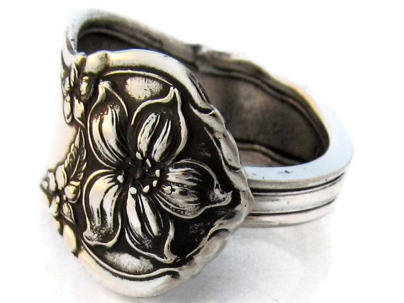 Spoon Ring Size 5 Orange Blossom Pattern Silver Art Nouveau Demitasse
