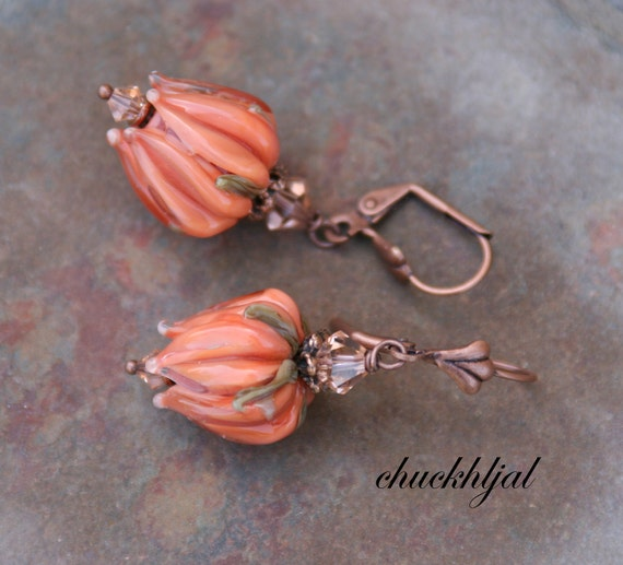 Peach Roses Tulips DeSIGNeR Lampwork Earrings chuckhljal Spring Bouquet Floral Flowers N Copper