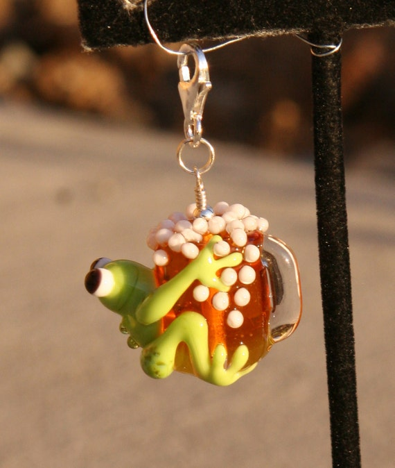 Lucky Green Frog holding a Frosted Mug of Beer Lampwork DeSIGNeR Pendant or Purse Charm