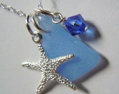 Blue Sea Glass and Starfish  Necklace, Beach Glass Jewelry