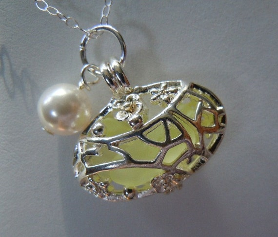 Sea Glass  Oval Locket Cage - Pale Yellow Beach Glass Necklace