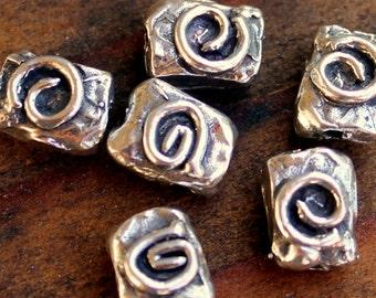 TWO Beads Sterling Silver Artisan Swirl
