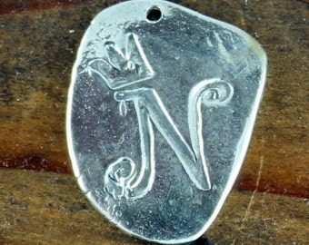 Whimsical Sterling Initial N CHARM with Crown