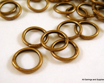 50 Antique Brass Soldered Closed Jump Rings 8mm 18 Gauge 8mm Outside - 50 pc - 5839-5