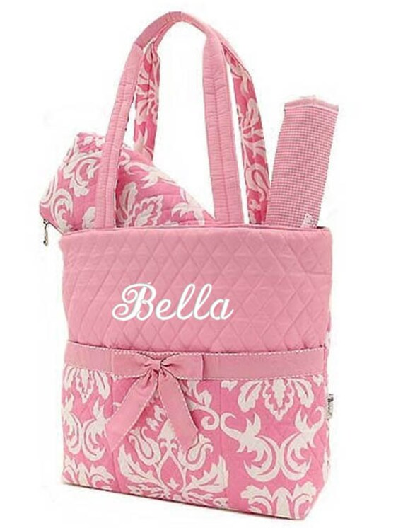 diaper bag personalized damask pink white monogrammed quilted. Black Bedroom Furniture Sets. Home Design Ideas