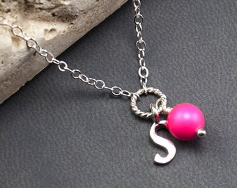 Personalized Necklace, S Initial Necklace, Sterling Silver, Neon Pink Pearl Necklace, Personalized Jewelry