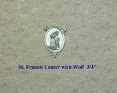 Silver Saint Francis with Wolf Rosary Making Center Parts Supplies