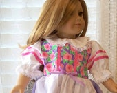 American Girl Doll Clothes Bright Flowers Dress Fits American Girl Doll or 18 or 20 inch doll