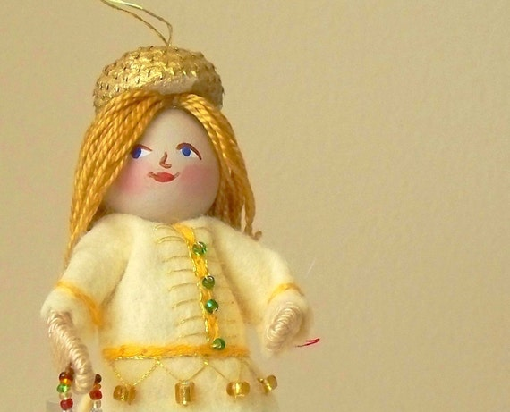 Felt Art Doll and Miniatures Mustard and greens pixie girl, Hanging Ornament