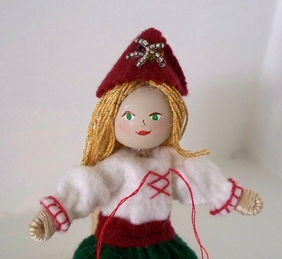 Christmas Art Dolls and Miniatures Santa's Helper Christmas Doll Hanging Ornament