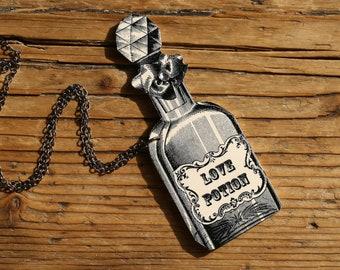 Love Potion Necklace - Potion - Love - Love Jewelry - Halloween - Vintage Illustration - Shrink Plastic - Black and White - Vintage Bottle