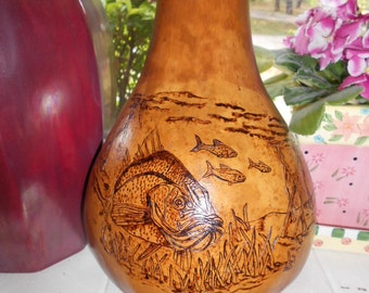 Snook Gourd Pyrography Woodburned  Snook Underwater Something Fishy Here