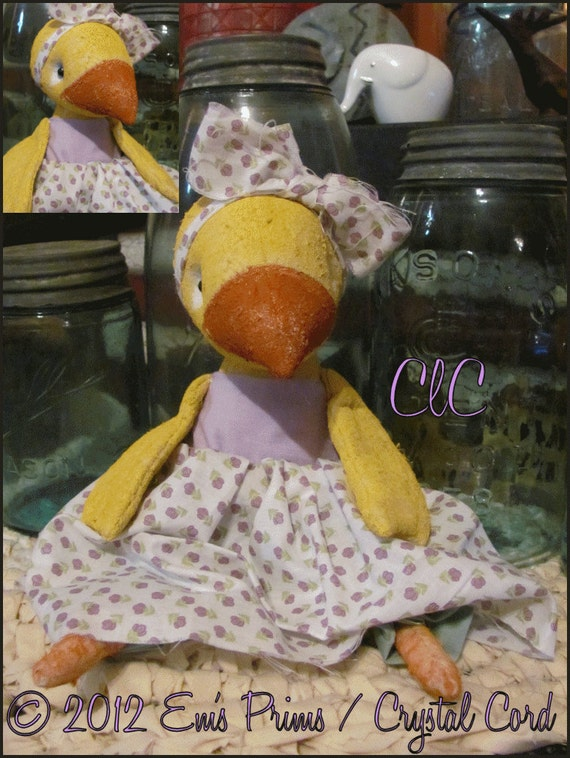 Whimsy art doll Chicken Shabby cottage decor