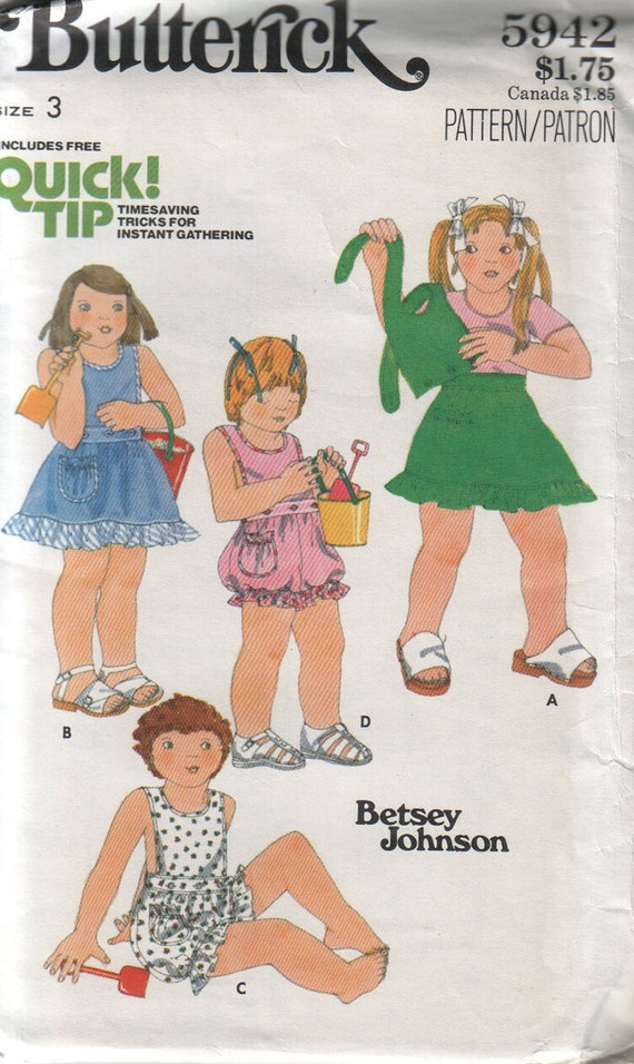 butterick 5942, vintage 70s children's skirt, bloomers and bib pattern UNCUT, toddler size 3, chest 22 FREE SHIPPING to canada and usa