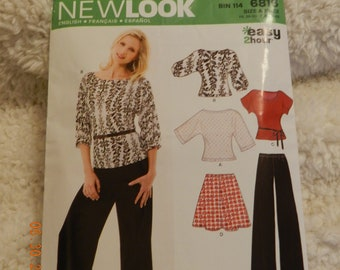 Misses Stretch Knits Top Two Sleeve Lengths, Flare Flirty Skirt and Flared Pants Size A 10-22 New Look Pattern Uncut