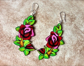 Blood Red Vintage Tattoo Rose Dangle Earrings With Leaves Vine Large Unique