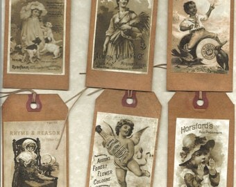 12 PRIMITIVE TAGS    Primitive Labels    Hang Tags    folk   and Grungy