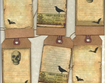 12 PRIMITIVE TAGS           Witches Journal Tags         Hang Tags     folk     Grungy