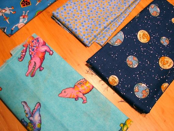 Destash boy print cotton fabric remnants for Space themed fleece fabric