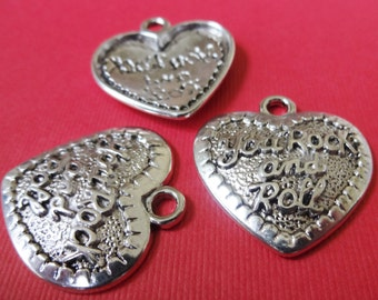 "20 Bulk, ""You Rock and Roll"" Heart Pendant Charms 31x29x4mm Item:A11"
