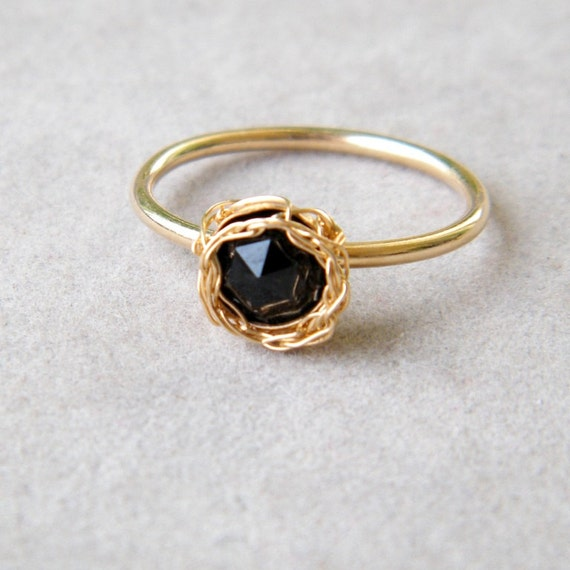 Black Onyx Gold Ring, Crochet Gold Wire, 14k Gold Filled Ring, Ready to Ship Size 7