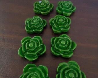 20mm Green Rose Flower Beads (10x)
