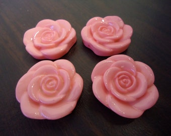 33mm Pink Resin Flower Beads (4x)