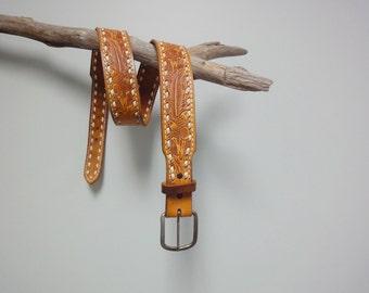 Vintage Western Tooled Leather Belt, Acorns, Brass Buckle, Personalized SHIRL, Size 38