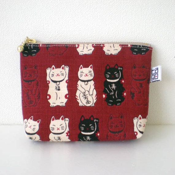 Zipper Pouch - Small, Lucky cat, Maneki neko in dark red
