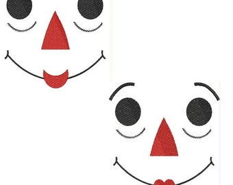 Raggedy Ann and Andy Faces Digitized Embroidery Designs