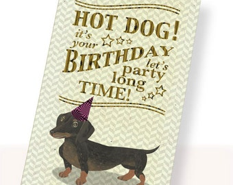 Printable PDF Cute Dachshund Dog Birthday Card Brown, White, Party Hat Instant Download