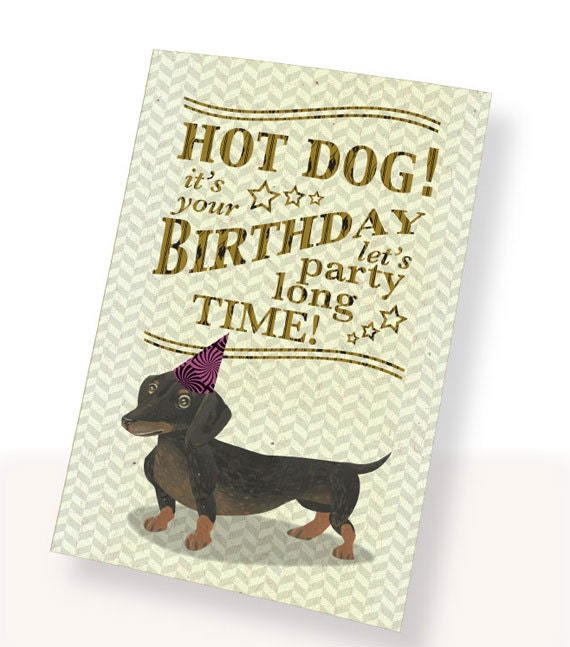Printable PDF Cute Dachshund Dog Birthday Card Brown White – Birthday Card Pdf