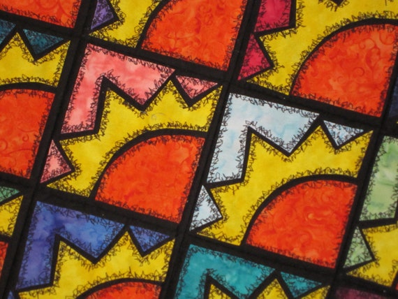 SUNSHINE Quilt from Quilts by Elena Herky Jerky Applique Wall Hanging Table Runner Ready to Ship