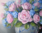 Beautiful Pink Roses with Blue hydrangeas in a vase original oil painting by Carole DeWald shabby chic