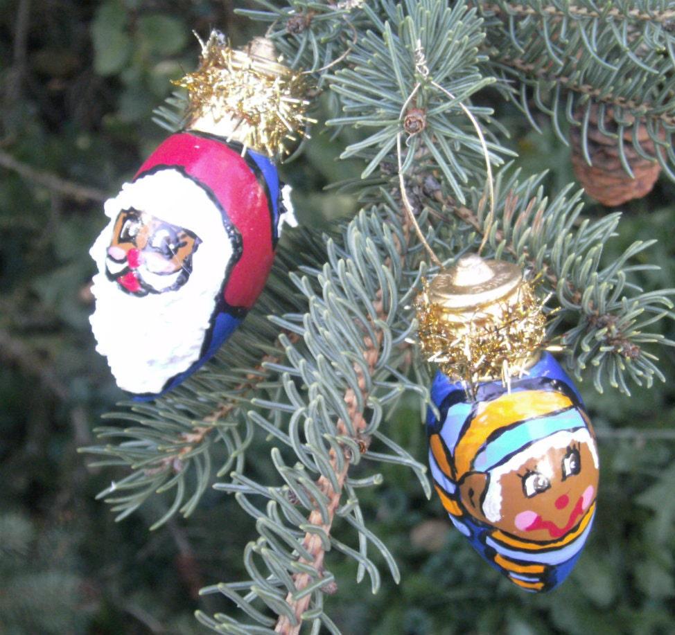 Light Bulb Ornaments African American Santa By