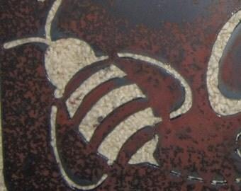 Bee Crossing-Metal Wall Art-Garden Art-Apiculture-Beekeeping-Metal garden Art