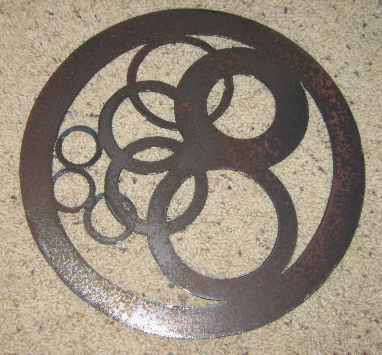 Circles in circle metal wall art geometric home for Circle wall art