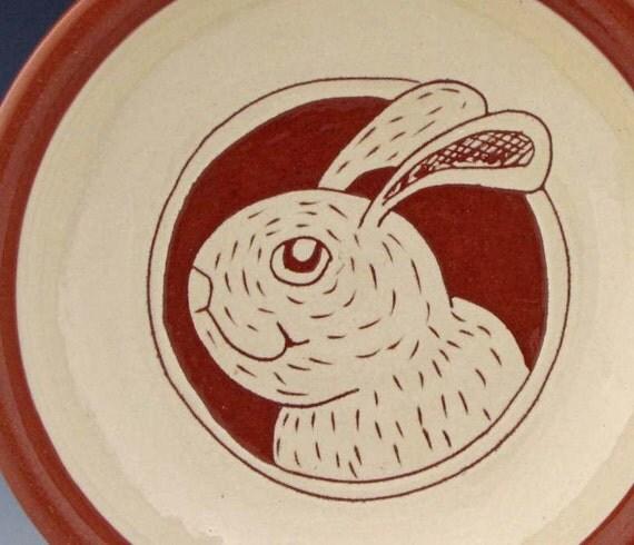 Bowl with Rabbit Portrait Ice Cream Bowl Terracotta Ceramics