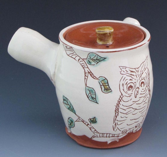 Side Handle Teapot with Owl -TP6