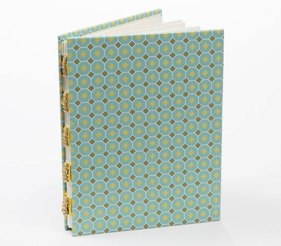 Mint green journal, handmade notebook, diary, blank book, gift under 15