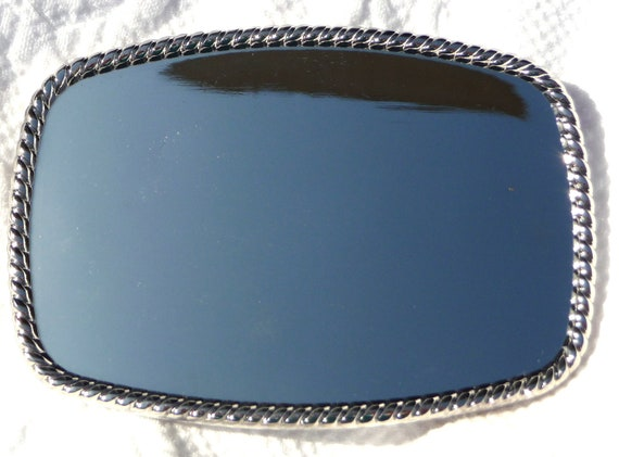"""Belt Buckle Base - Silvertone Rectangle - Rope Edge -  Silver Tone Rectangular Buckle Blank - 12 OTHER STYLES AVAIL - 4"""" x 2 3/4"""""""