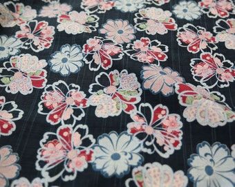 3116 - Japanese Chrysanthemum Floral Slubbed Cotton Fabric - 43 Inch (Width) x 1/2 Yard (Length)
