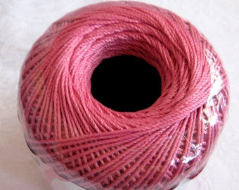 WARM ROSE pink cotton thread, Aunt Lydias Fashion 3 Mercerized Crochet thread, Size 3,  775