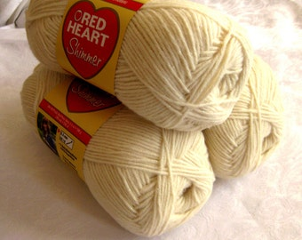 Red Heart Shimmer yarn, IVORY yarn with metallic shimmer sparkle, worsted weight