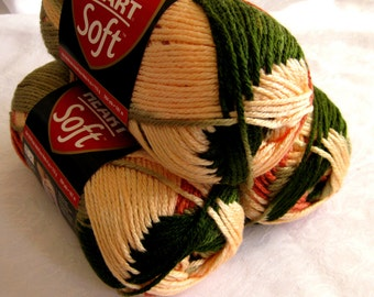 Red Heart Soft yarn,  GARDEN,  spring green cream rust medium worsted weight yarn, multi colored