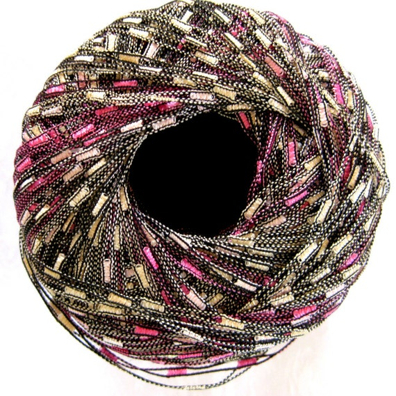 Bernat Matrix Ladder Ribbon yarn, Password Pinks, pink cream shades